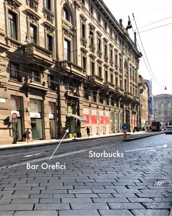 Bar Orefici is directly across fromStarbucks
