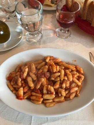Cavaletti with salami and sauce