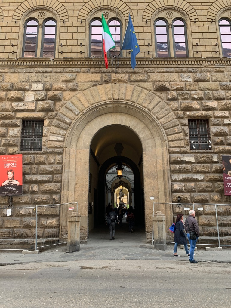 Entrance to a large stone palazzo