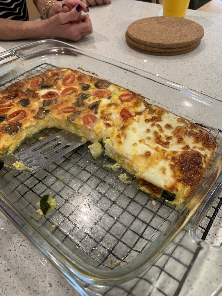 Crustless quiche cut