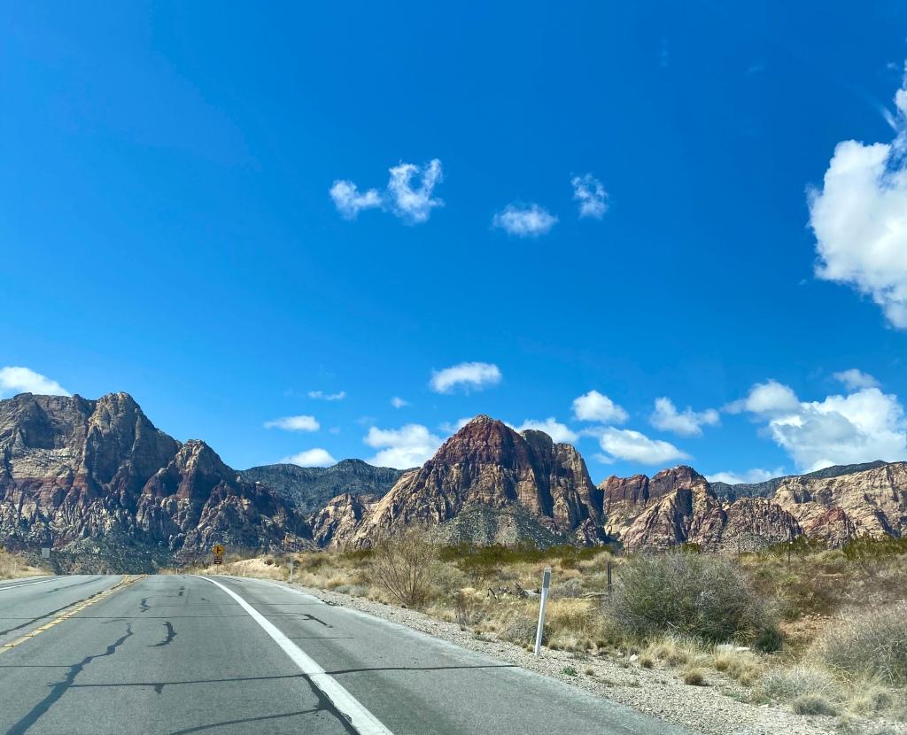 road through mountains and desert